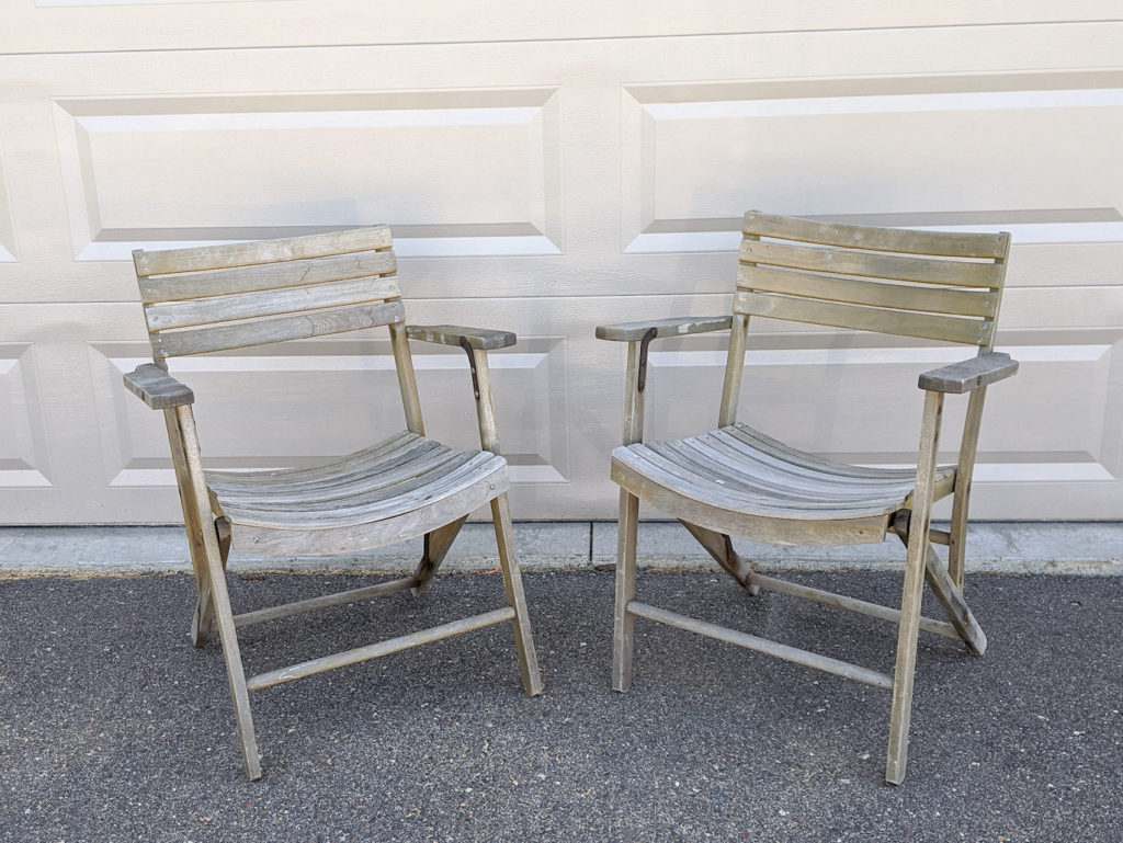 Old Wood Patio Chairs that Need Refinishing
