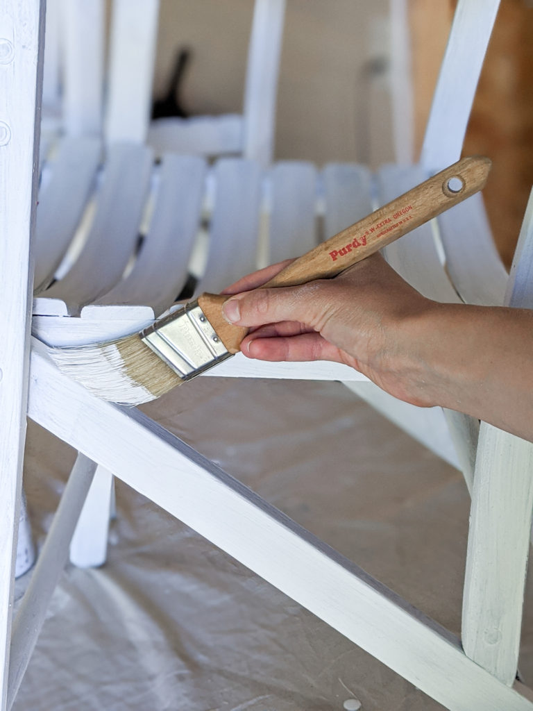Painting Outdoor Furniture Using Purdy White Bristle Extra Oregon Brush to get in Grooves