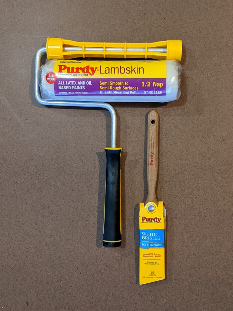 Purdy Lambskin Roller and Purdy White Bristle Paintbrush for Applying Primer on Outdoor Chairs