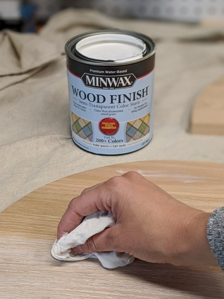 Applying Minwax Semi-Transparent Color Stain to wood
