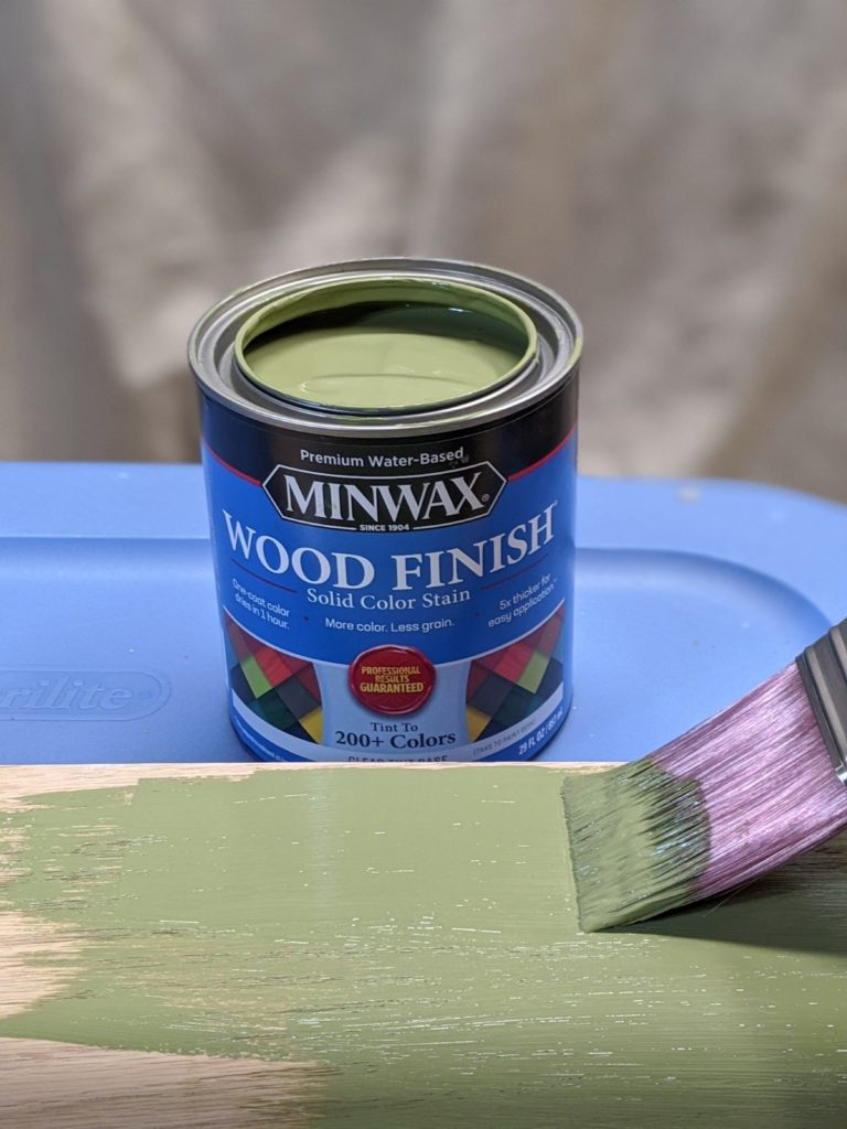 Applying Minwax Wood Finish Solid Color Stain in Gentle Olive