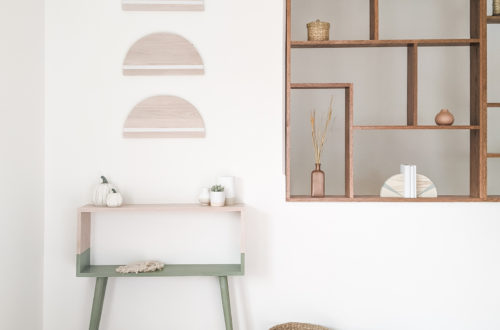 Modern Console Table and Wall Decor in Family Room