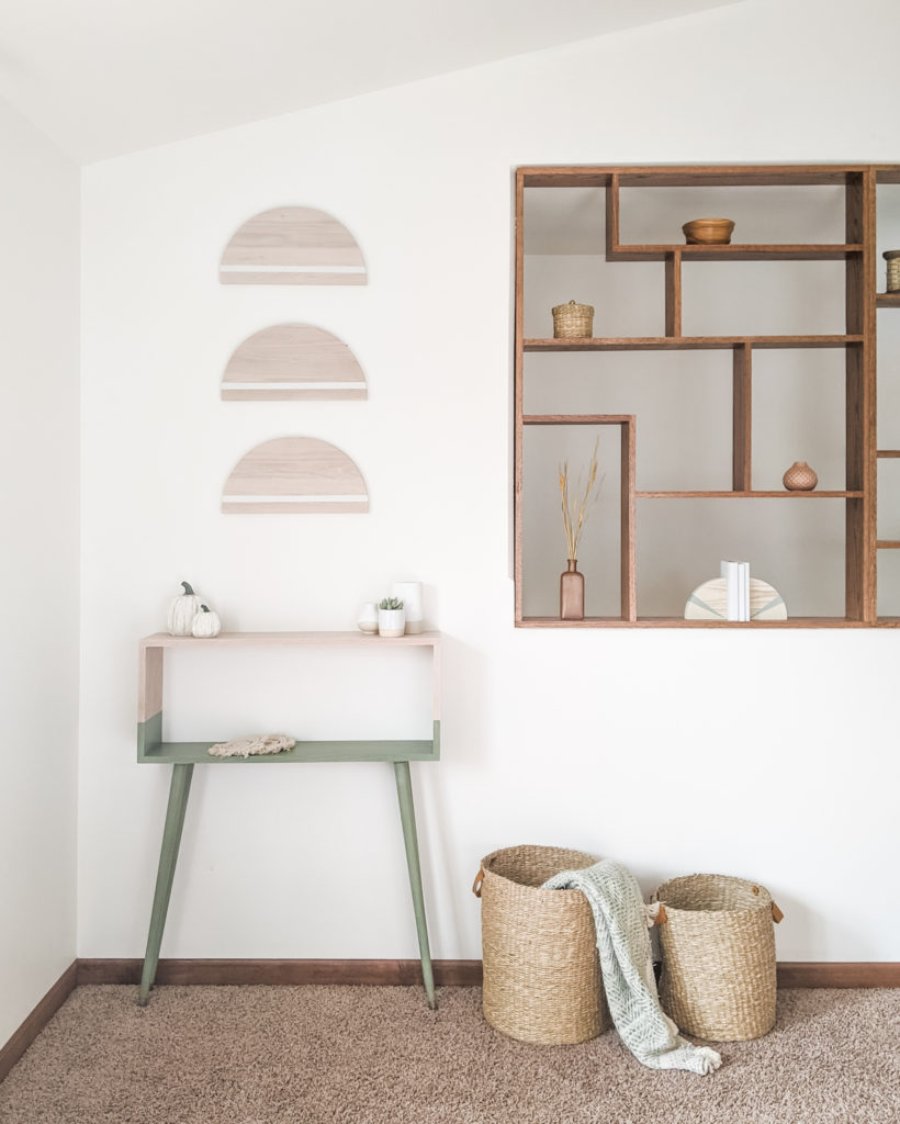 Mid-century modern DIY console table and semicircle wall decor