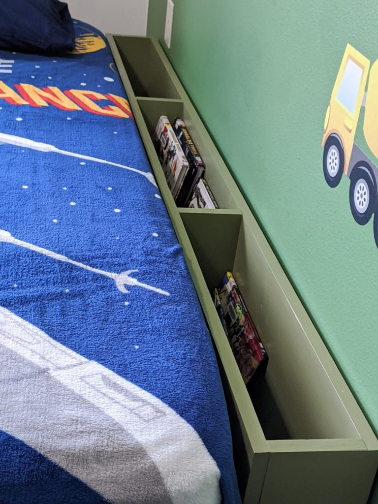 Close-up of Bedside Storage Cubby for Children's Books and Toys