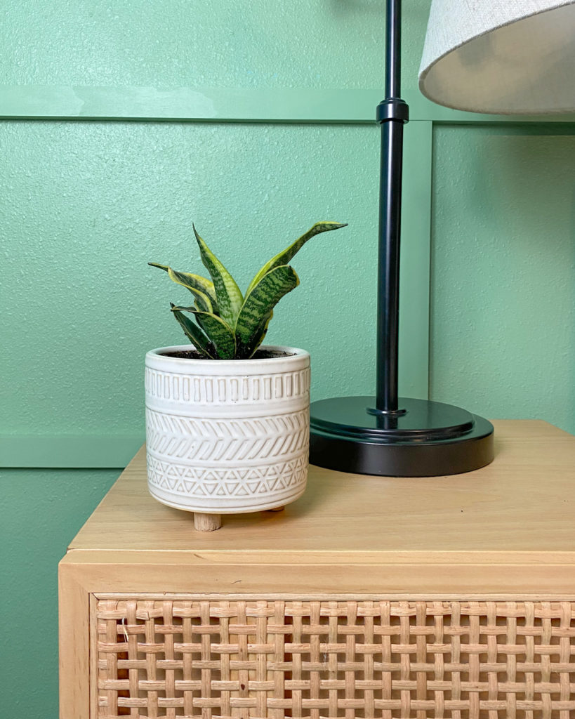 Modern Accent Wall in Guest Bedroom with Cute Pot from Hobby Lobby