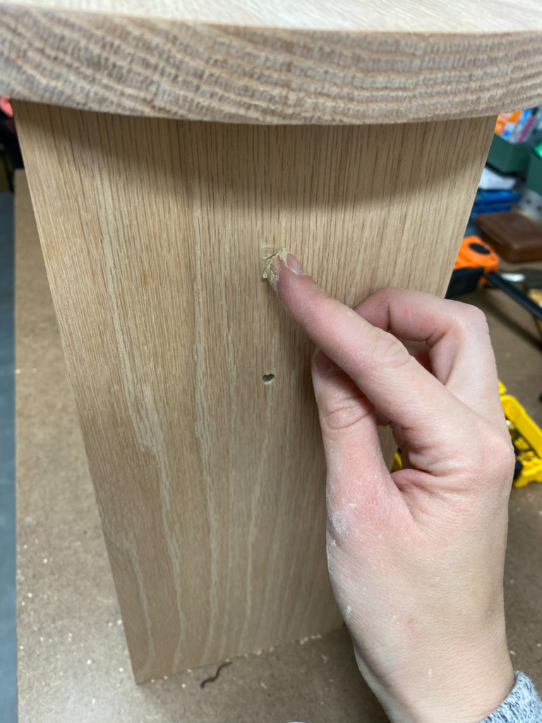 Filling screw holes with stainable wood filler