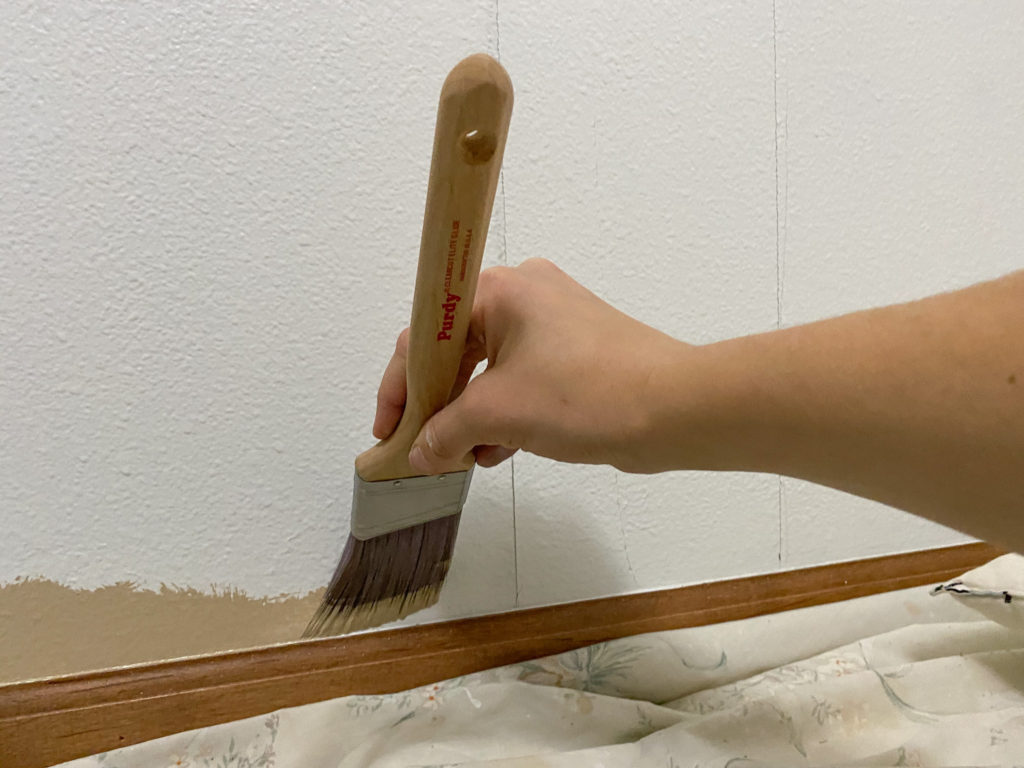 Cutting in painting against trim using a Purdy Clearcut Elite paint brush