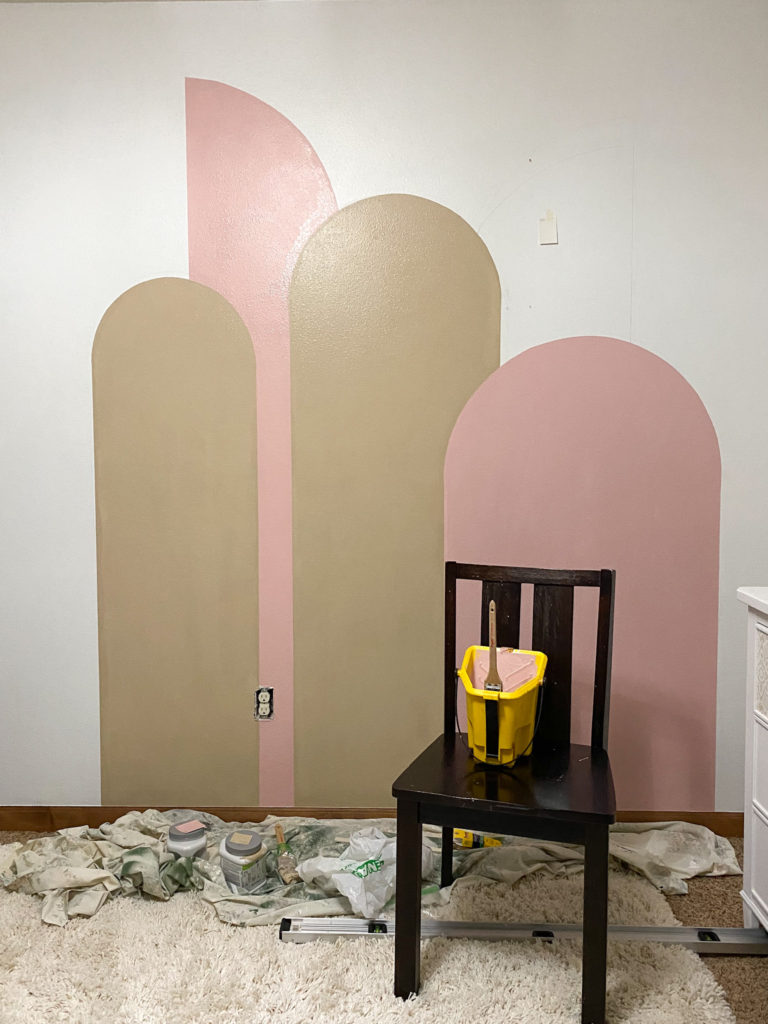 Progress picture for color block wall for little girl's room