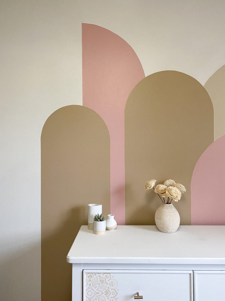 Pink and Beige Color Block Wall in Little Girl's Bedroom