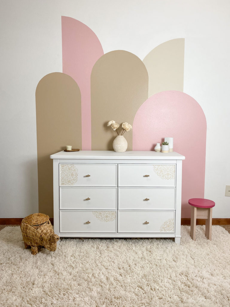 Pink Girl's Room with Modern DIY Stool in Bold Pink Color
