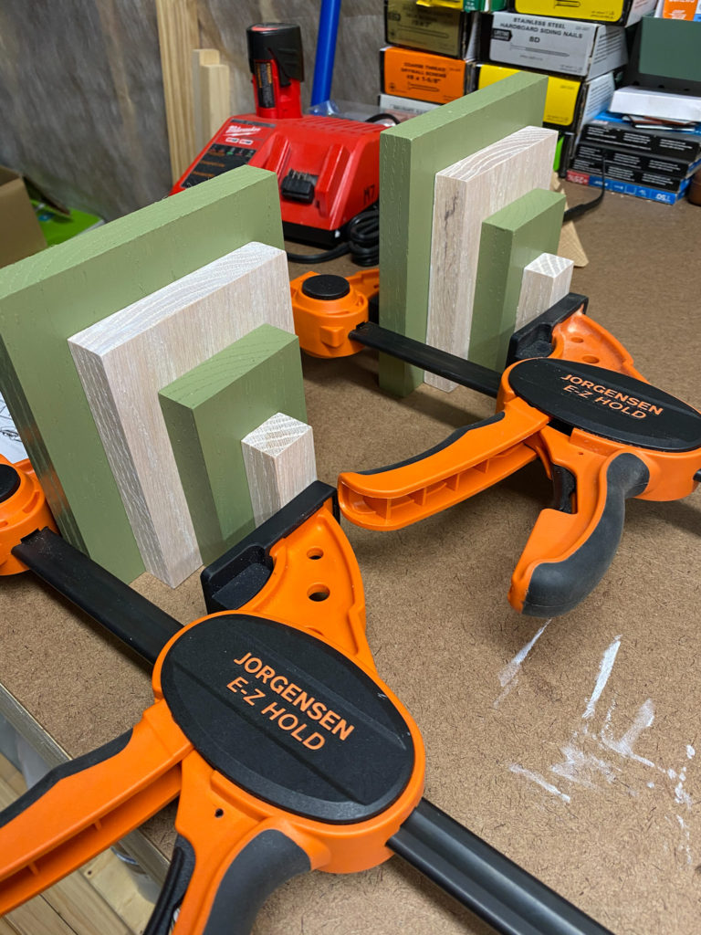 Clamped Wood for Modern Bookends