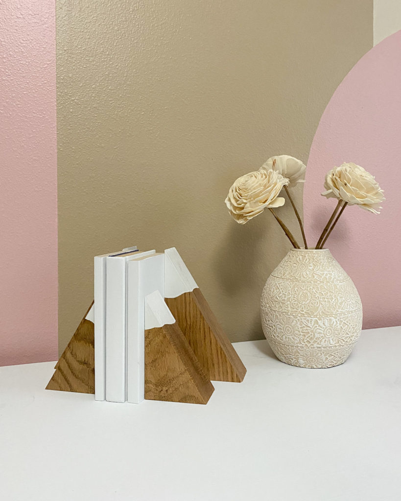 Completed mountain bookends in little girl's room
