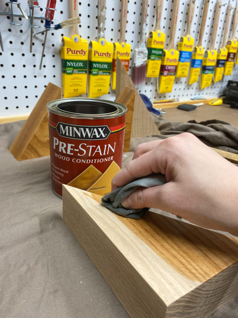 Applying oil based pre-stain wood conditioner