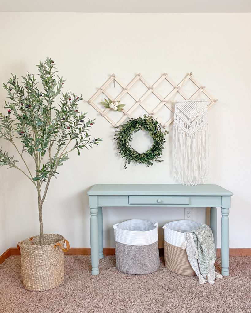 Refinished console table in a soft green chalky finish paint color