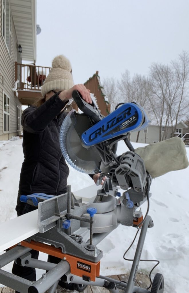 Cutting PVC boards using a Delta miter saw outside