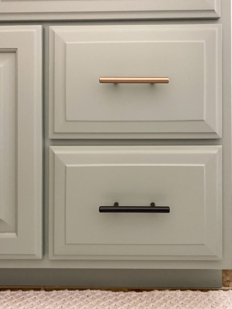 Painted Bathroom Cabinet in Sage Green with Bronze and Black Hardware