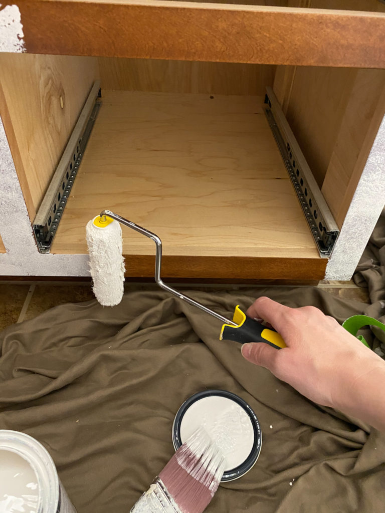 Painting a Bathroom Vanity with a Roller