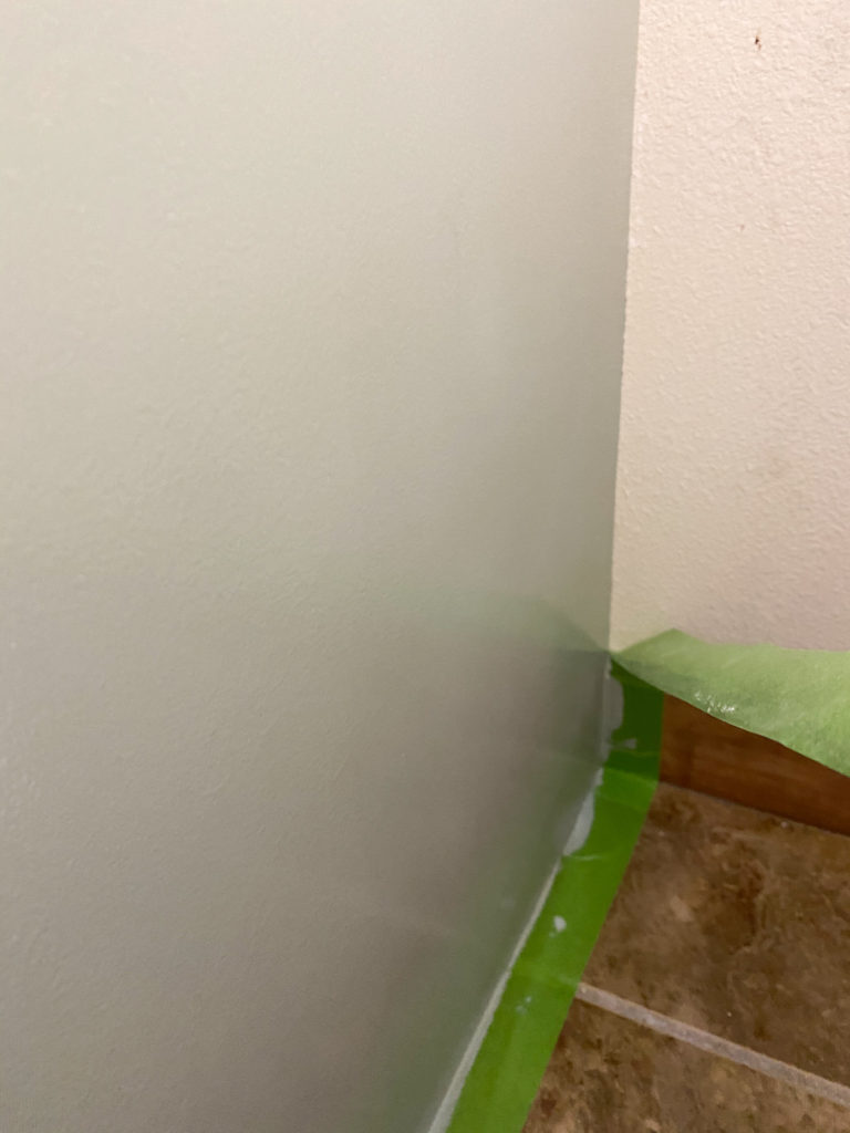 Using Frogtape painter's tape when painting the bathroom vanity