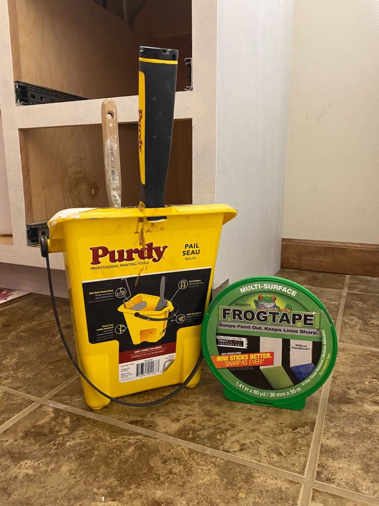 Painting Bathroom Cabinets with Purdy Paint Pail and Frogtape
