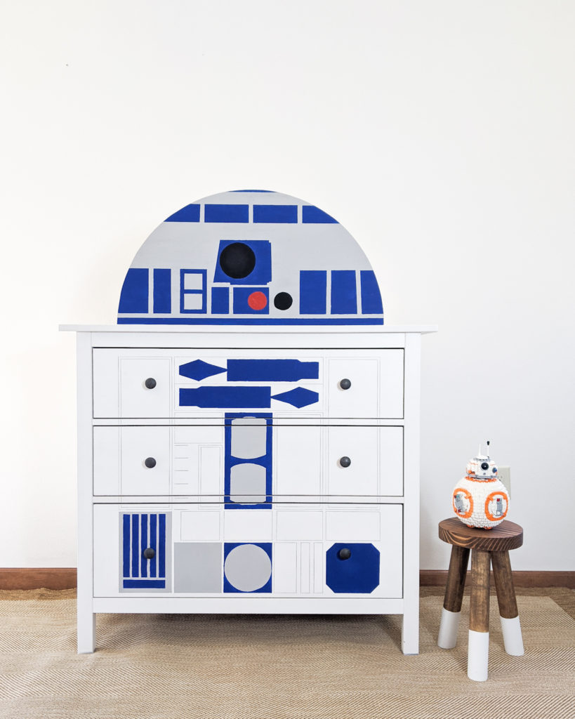 Finished R2-D2 Ikea Hack Dresser and BB8 Lego