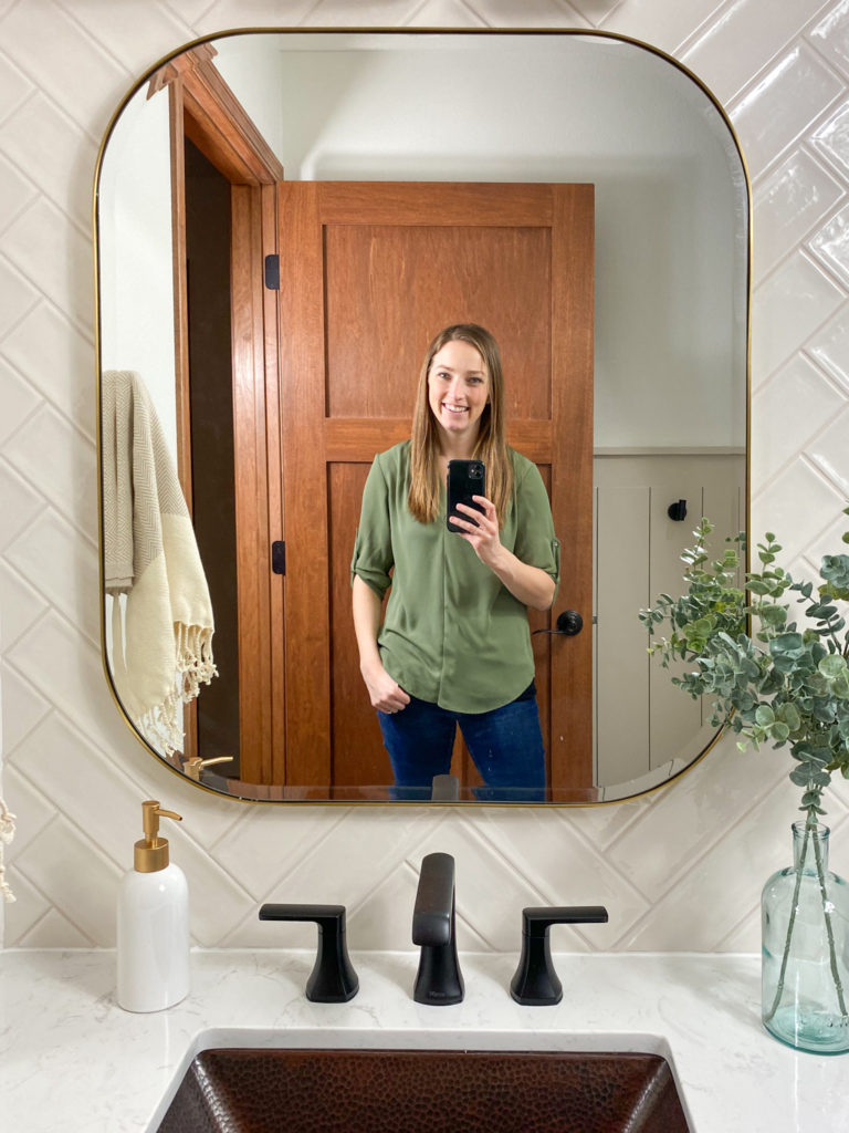 Mirror selfie with Lamps Plus brushed brass edge mirror