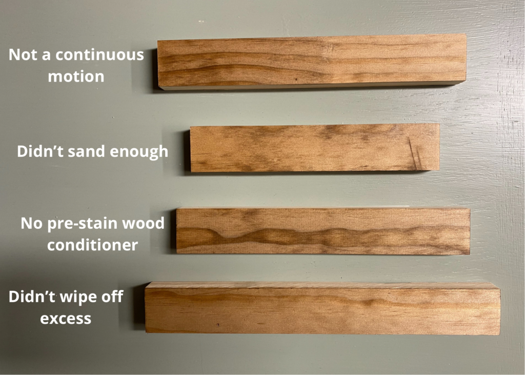 Blotchy Stain on Pieces of Wood due to issues with staining
