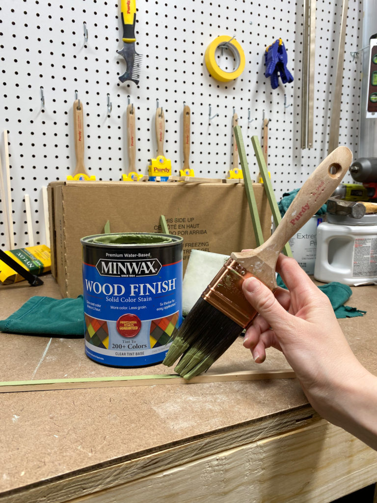Applying Minwax Solid Color Stain in Gentle Olive