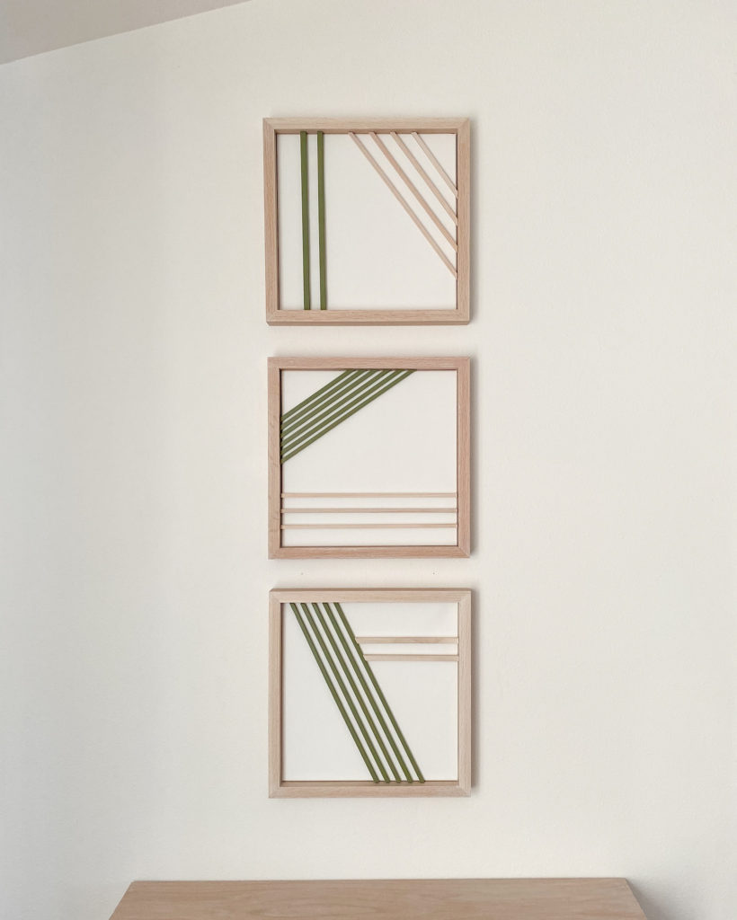 Modern Wall Art with square wood dowels
