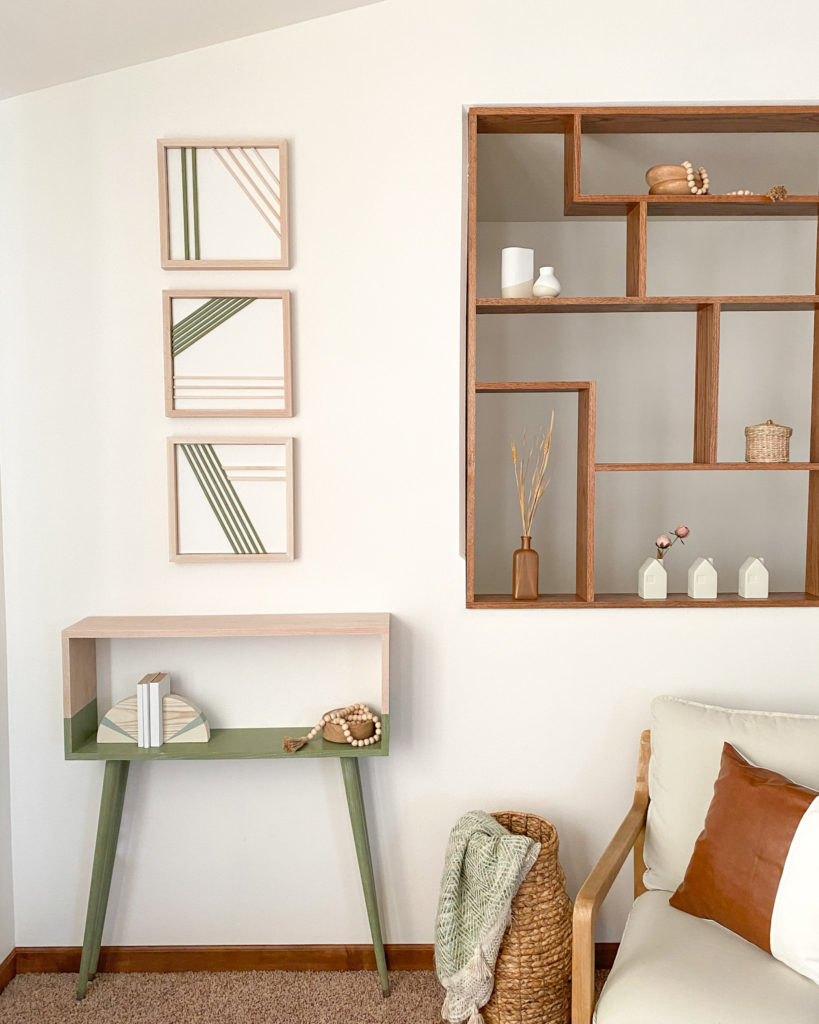Modern Wall Art made with wood dowels