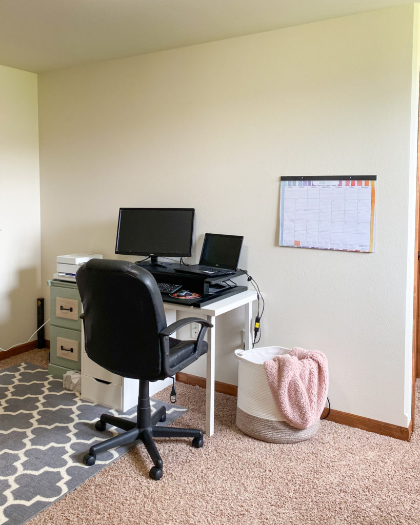 Before Picture of the Office Before I Color Blocked the Wall