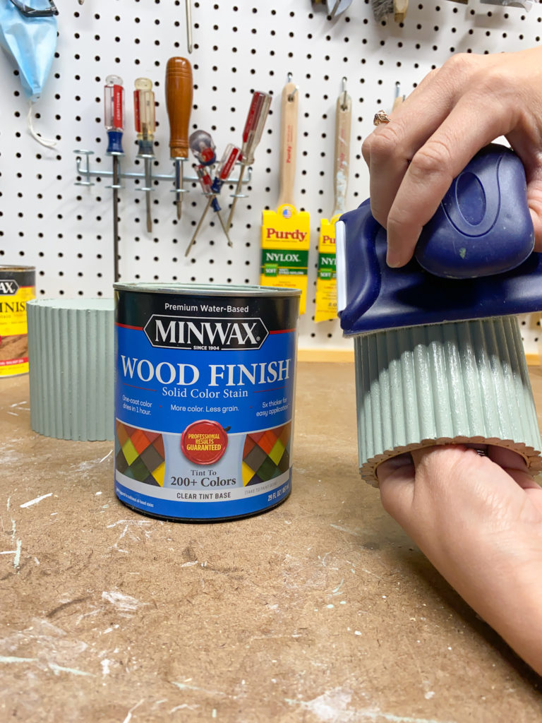 Applying Minwax solid color stain to diy dowel planters
