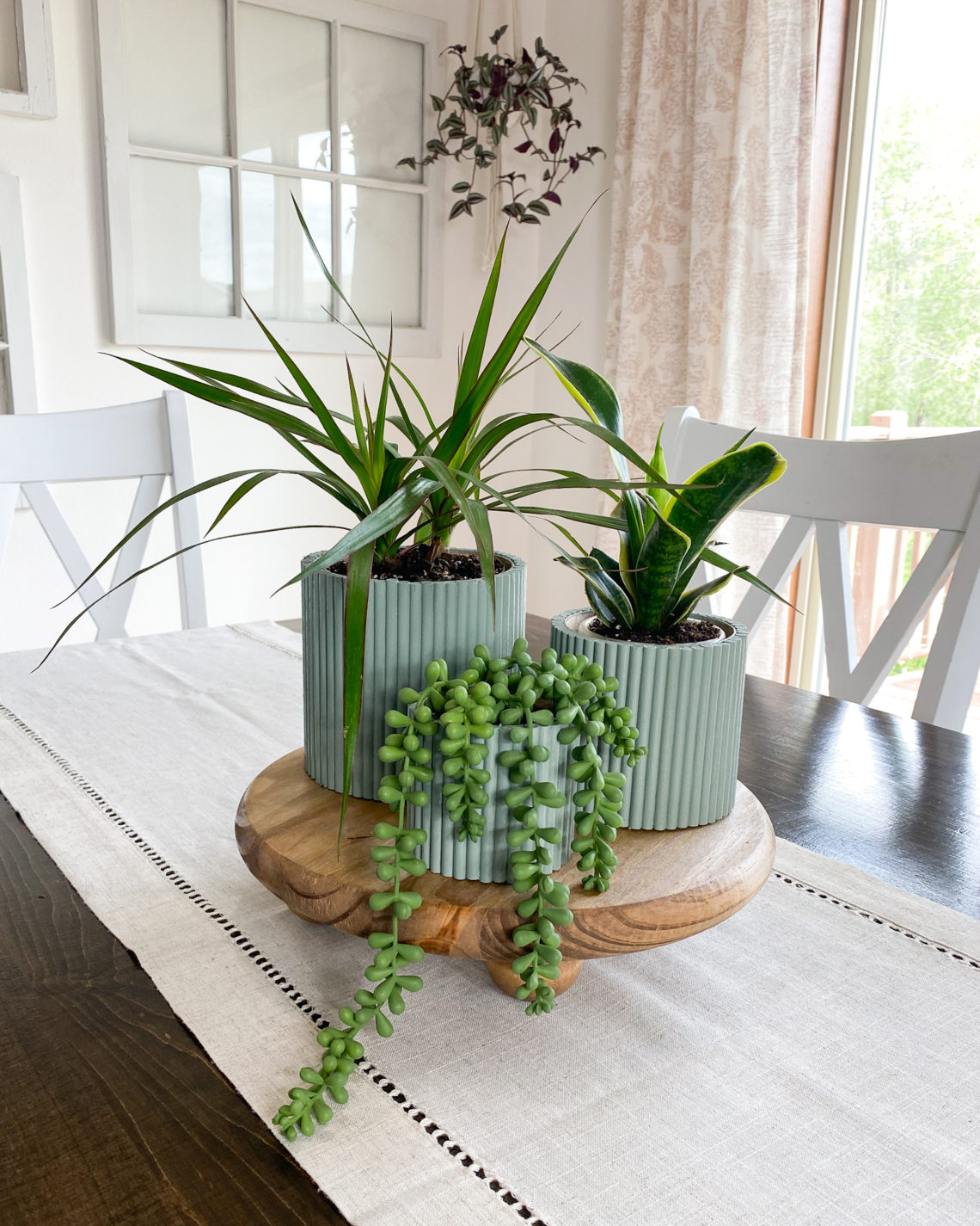 fluted planters and plant riser