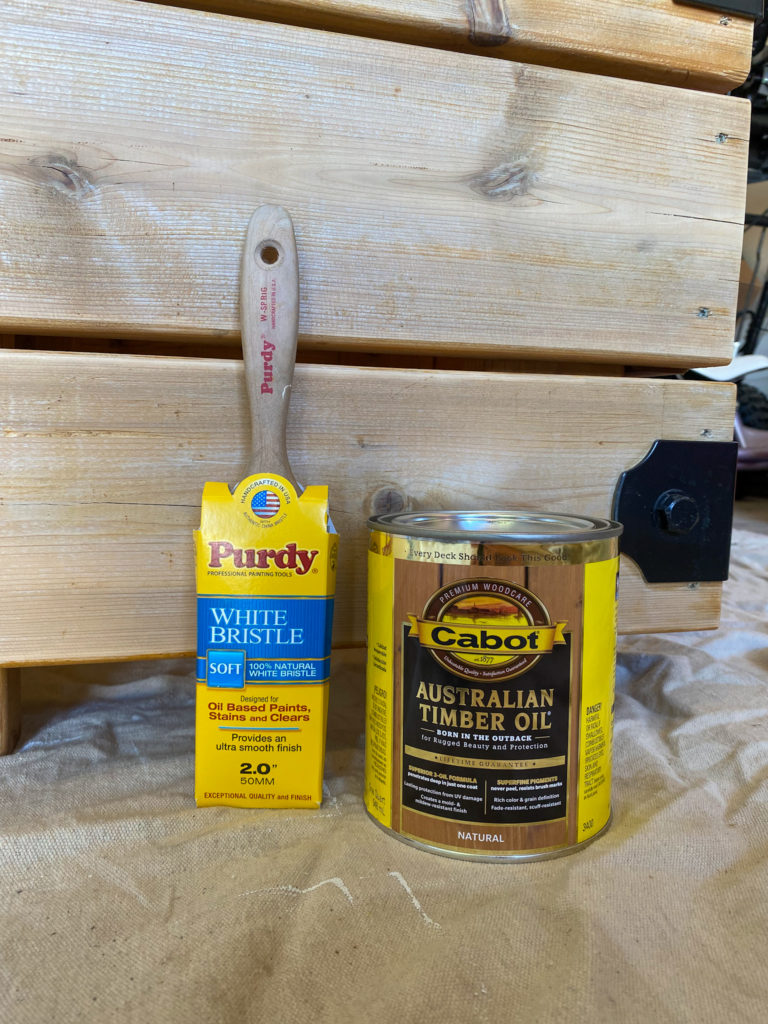 Purdy White Bristle Brush and Australian Timber Oil for Outdoor Furniture